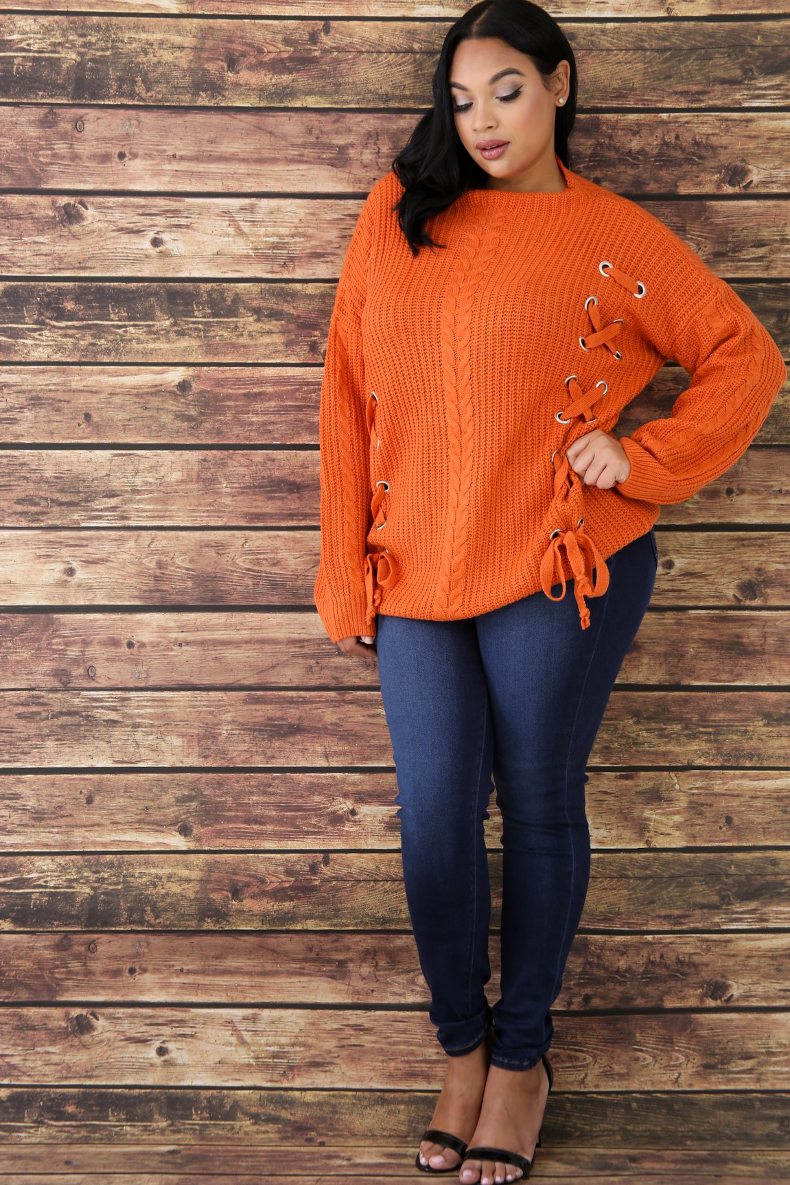 Eyelet Lace Up Sweater Top