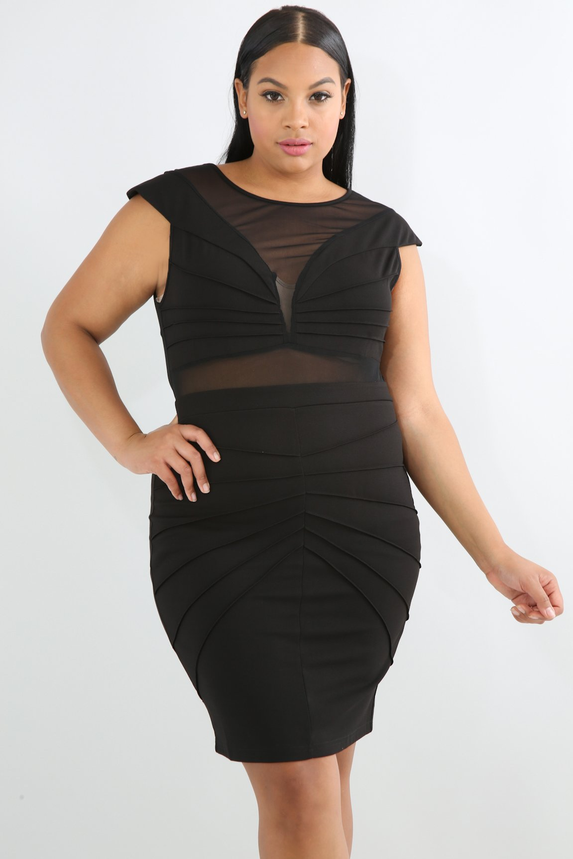Pintuck Sheer Mesh Body-Con Dress