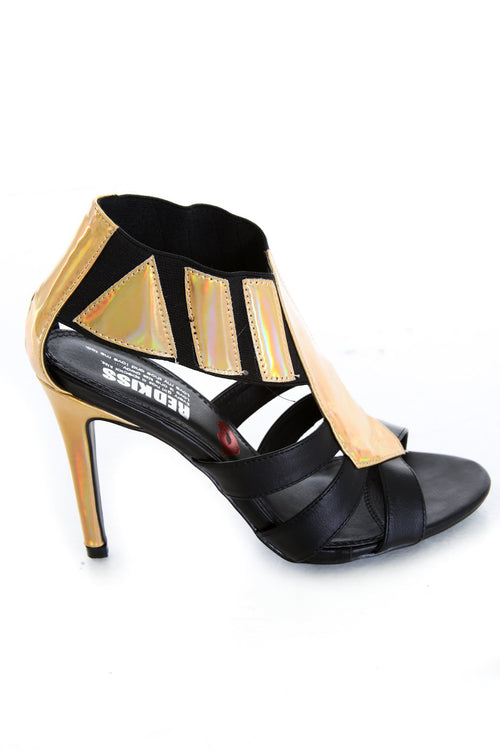 Black Faux Leather Gold Foil Open Toe Heels