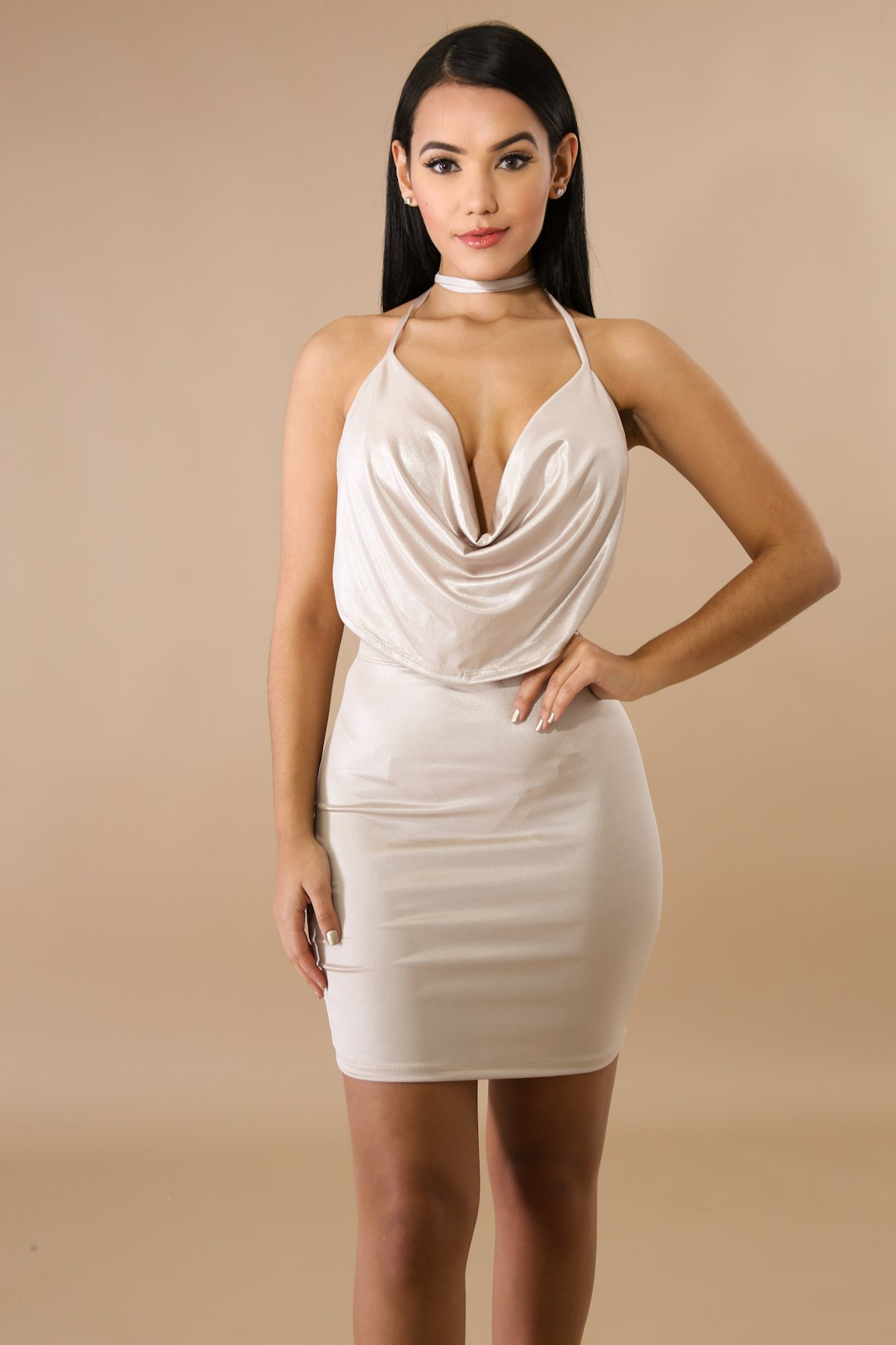 Silk Drape Mini Skirt Set