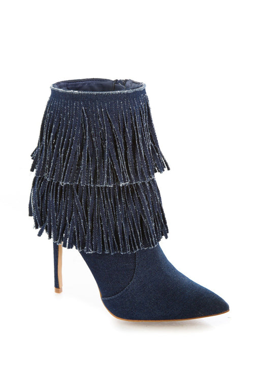 Denim Fringe Bootie