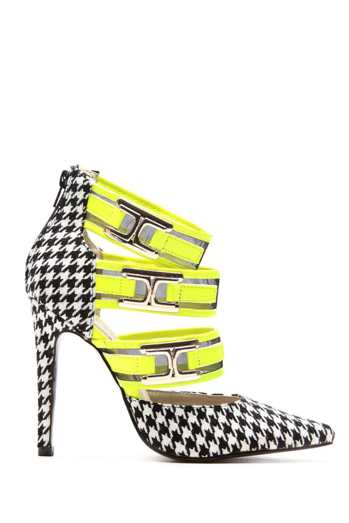 Neon Yellow Checker Houndstooth Strapped Pointed Toe Heels