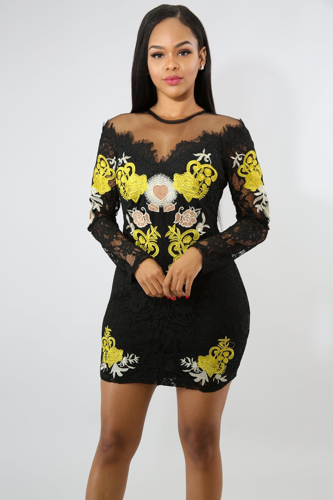 Lace Decals Body-Con Dress
