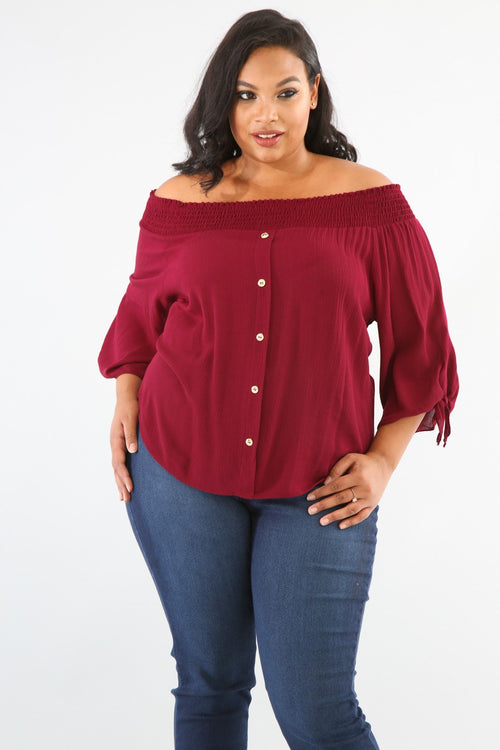 Off Shoulder Gauze Blouse