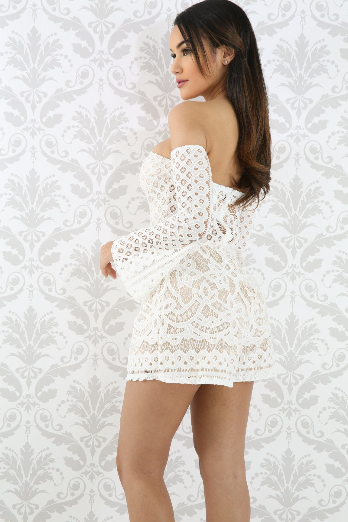 Flare Sleeve Lace Romper