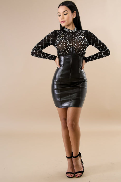 Enchanted Leather Corset Mini Skirt