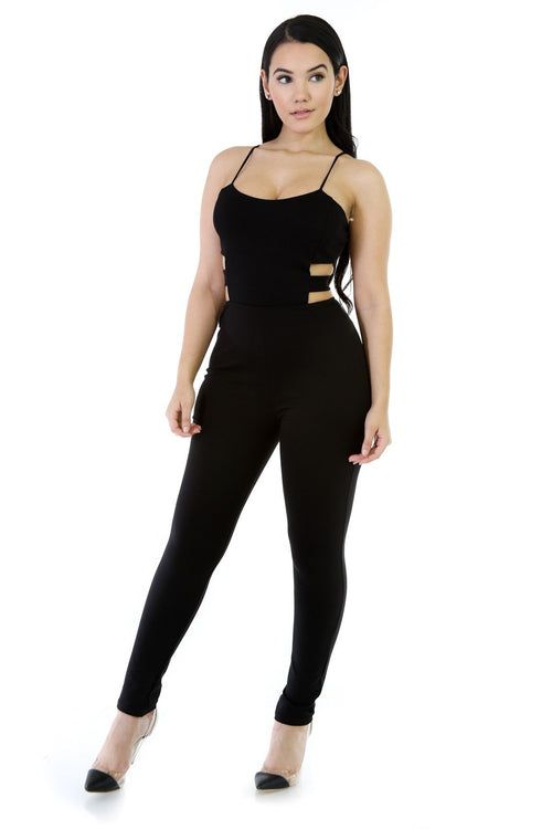 Stretchy Thin Straps Tamper Jumpsuit