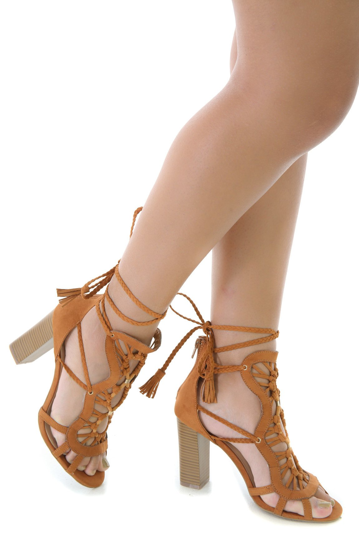 Faux Suede Chunky Cut Out Lace Up Heels