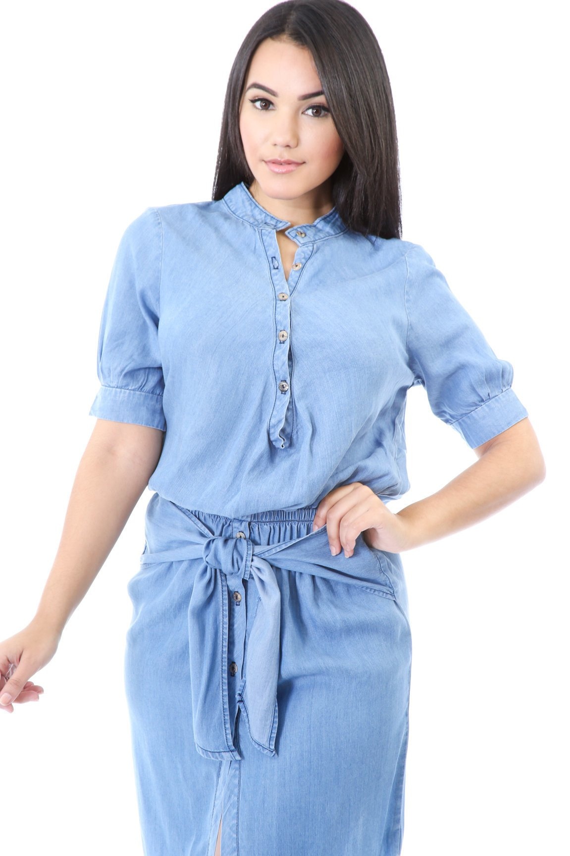 Denim Tie Up Dress