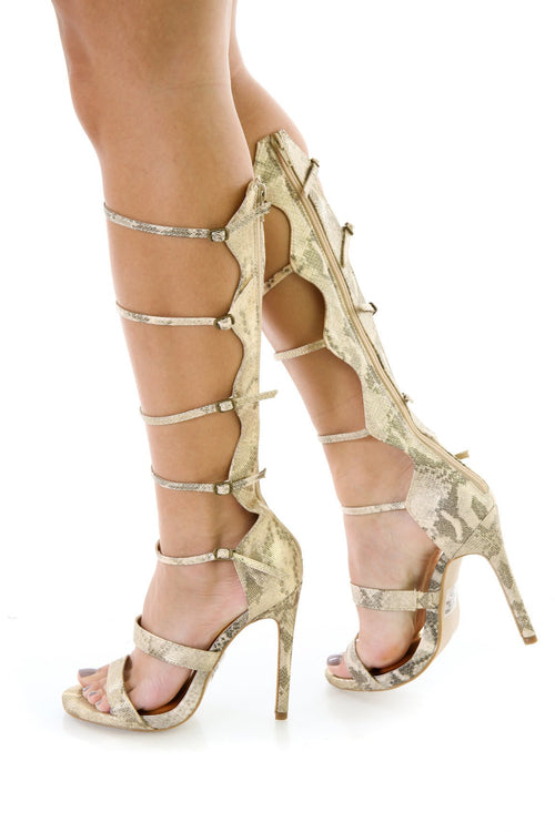 Gold Faux Snake Skin Strappy Gladiator Heels