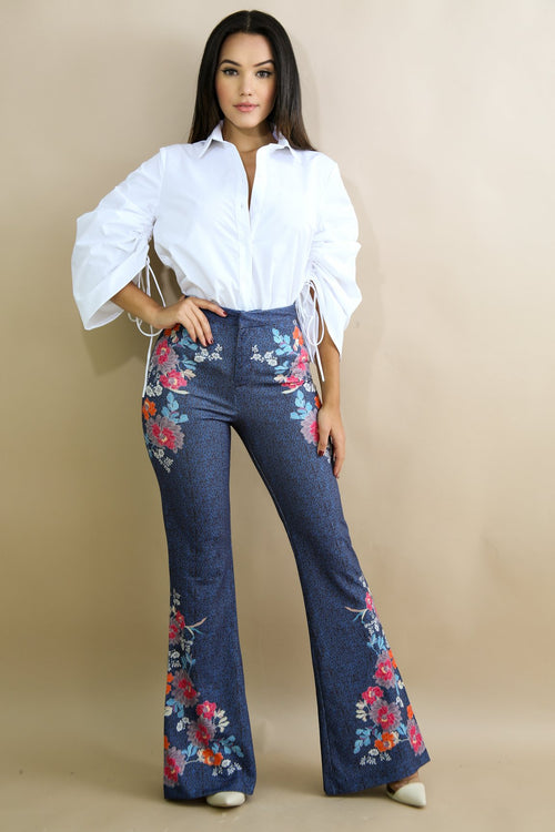 Navy Floral Bloom Wide Pants