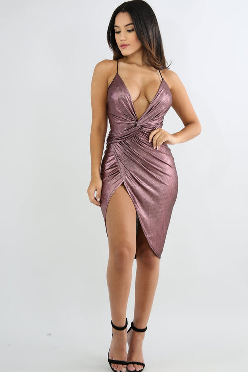Metallic Overlay Scrunch Dress