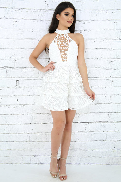 Halter Crochet Net Dress