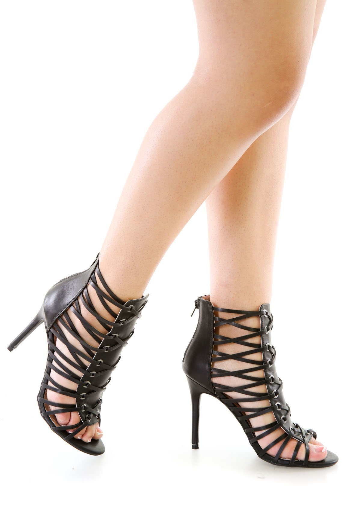 Faux Leather Peep Toe Heels