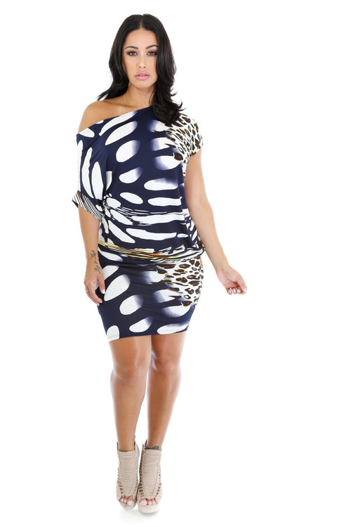 Drape Cheetah Dress