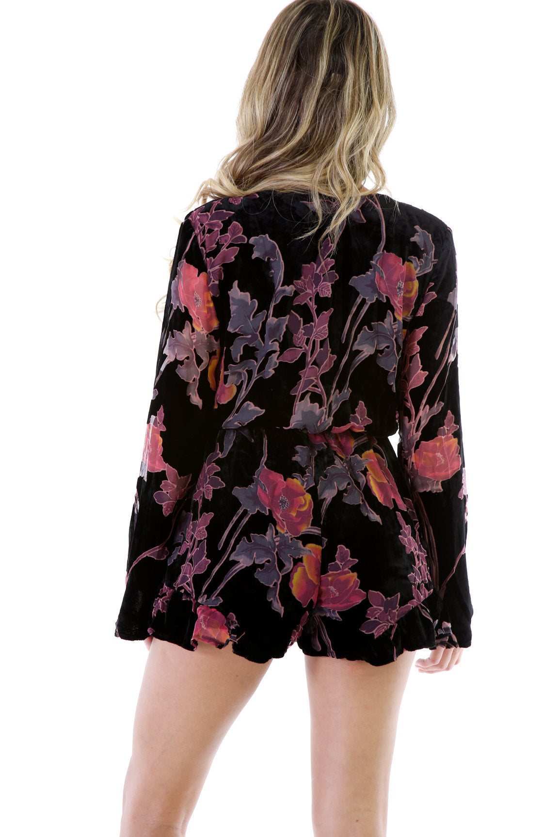 Fashion Suede Floral Romper