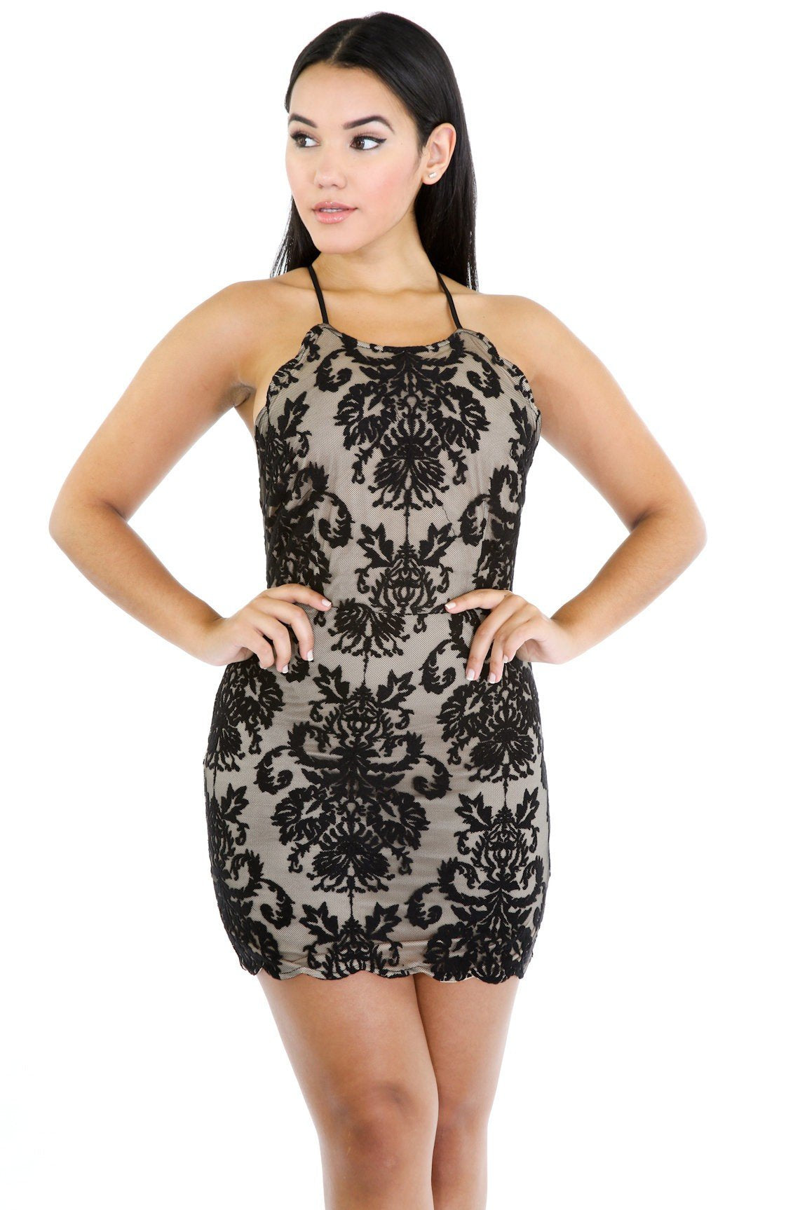 Pop Out Floral Mesh Dress