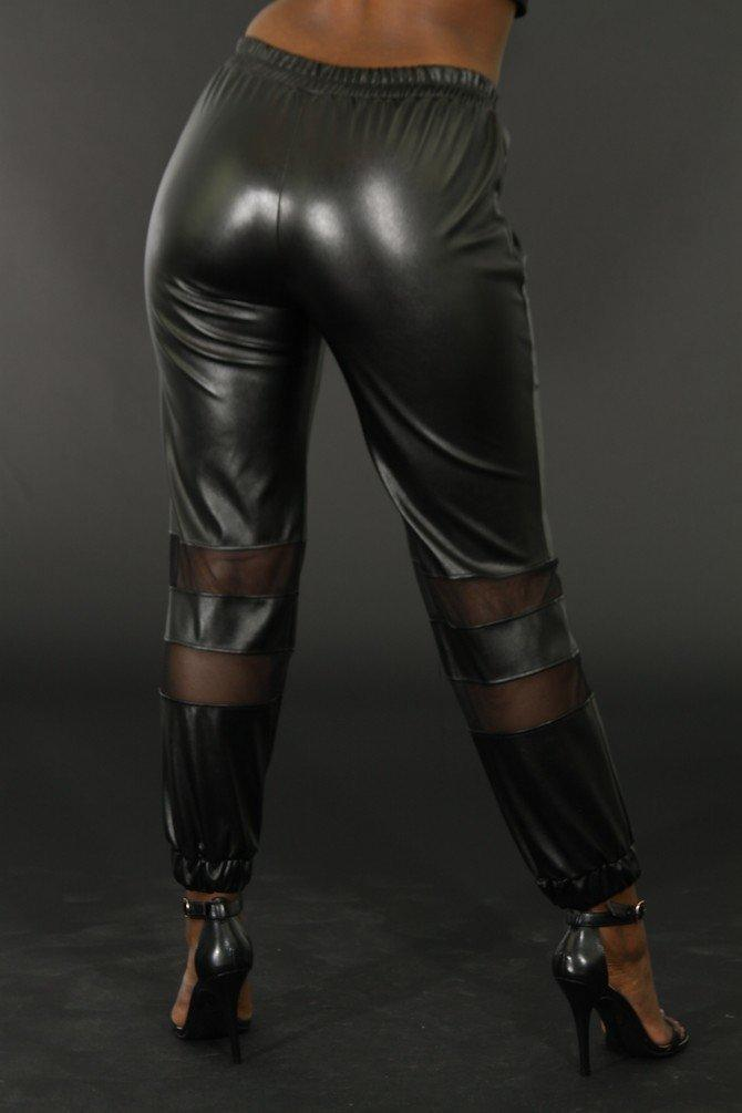 Faux Leather Tron Look Pants