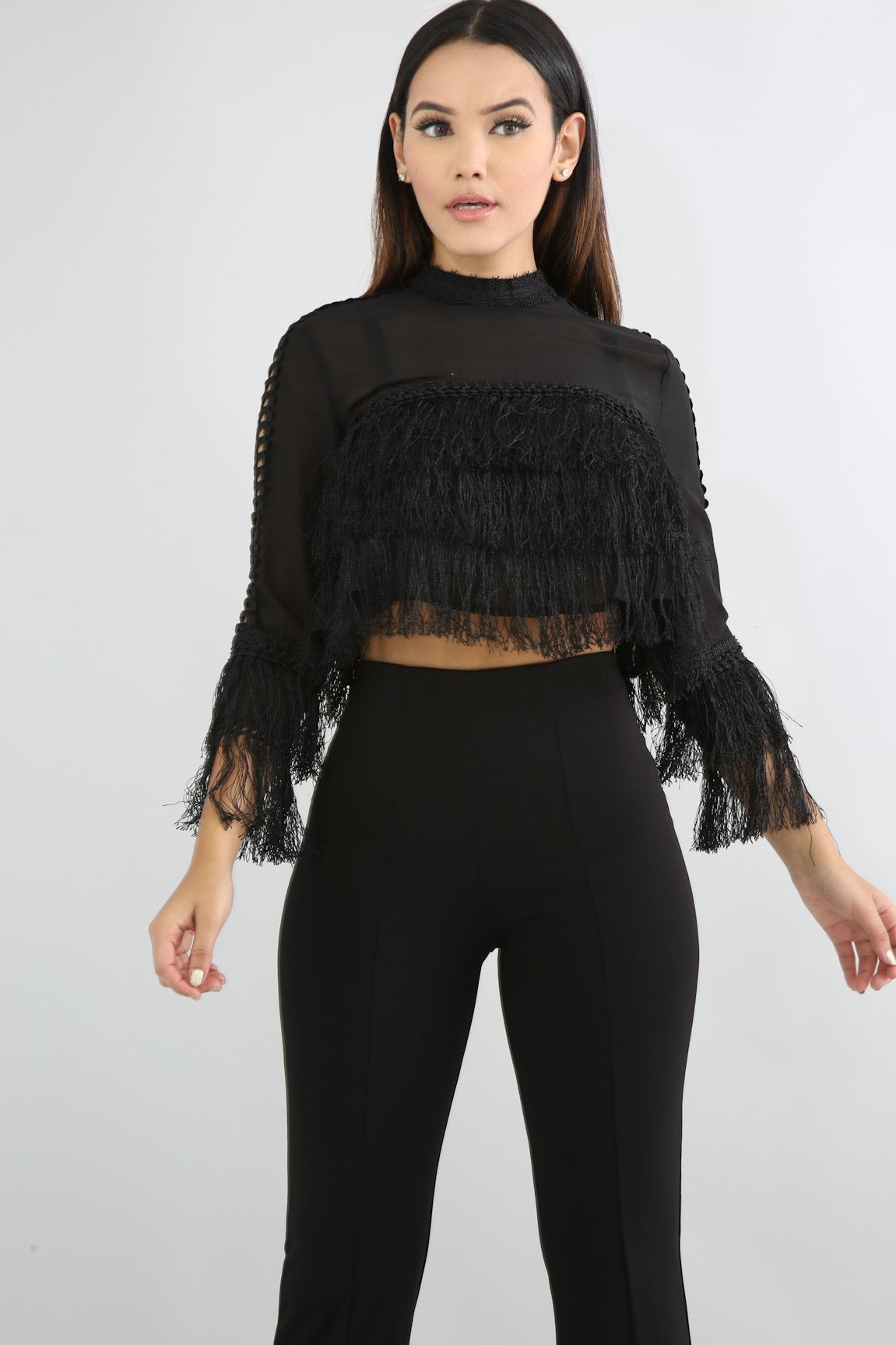 Sheer Crochet Fringe Top