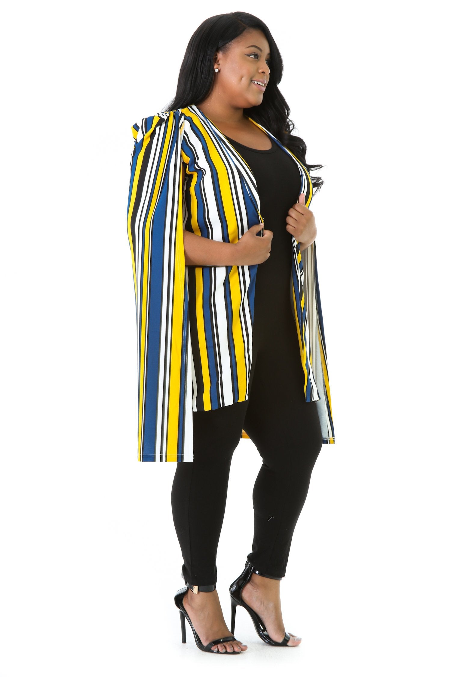 Striped Cape Blazer