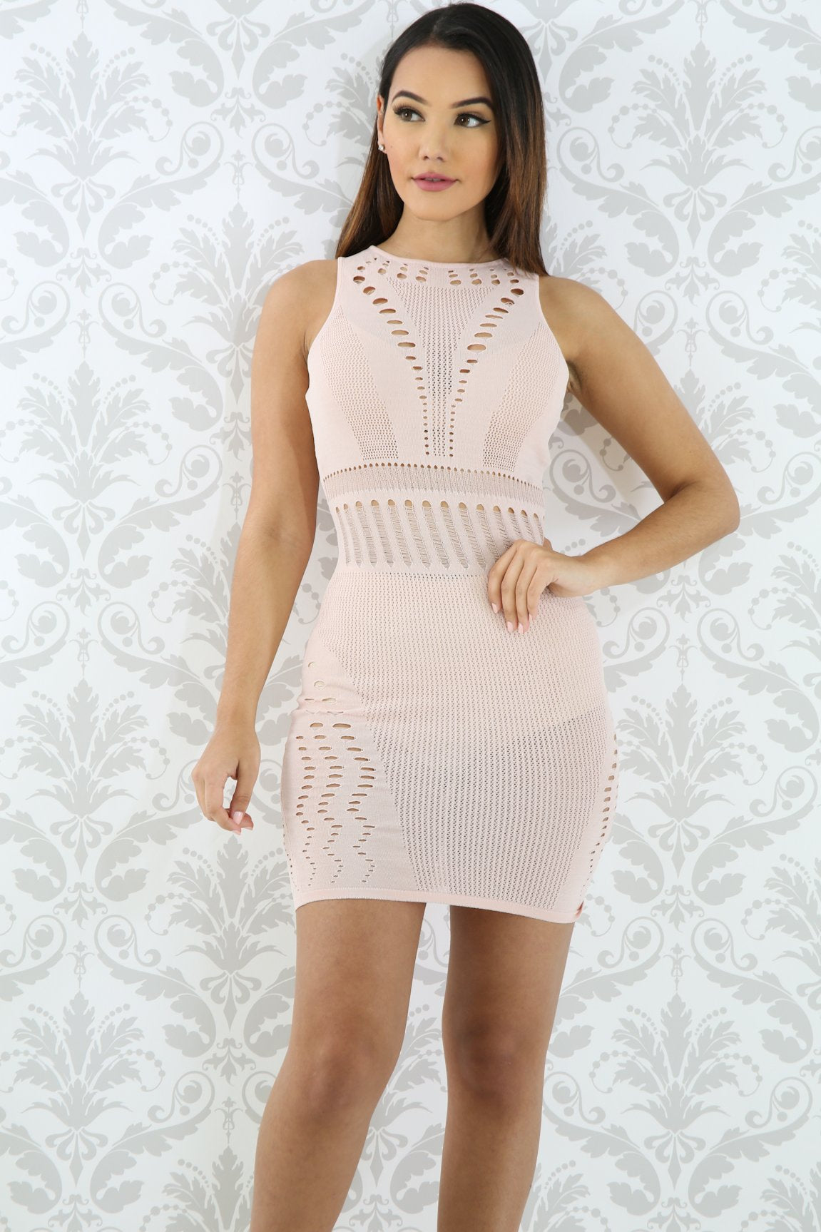Distressed Knit Body-con Dress