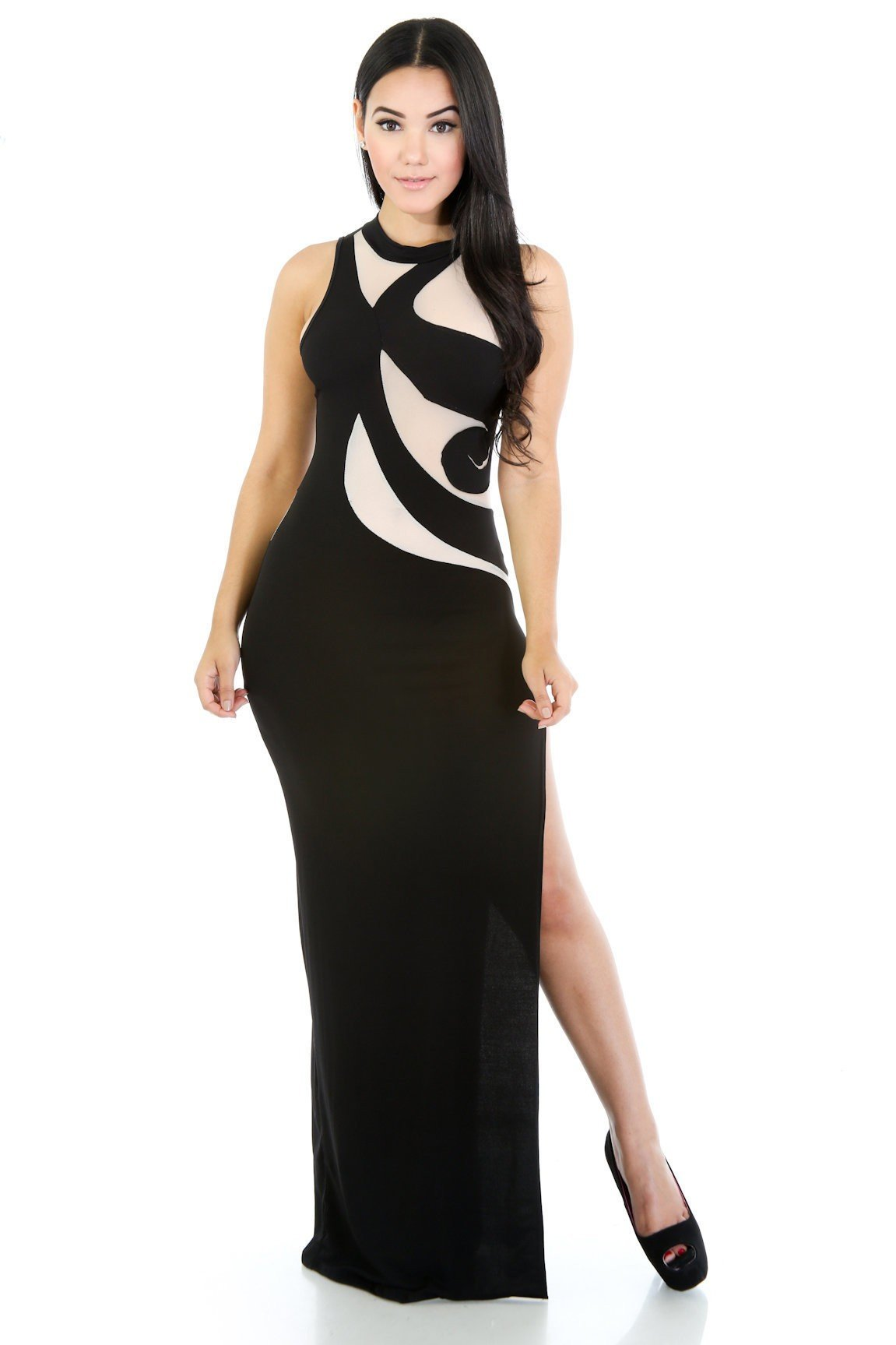 Mesh Swirl Maxi Dress
