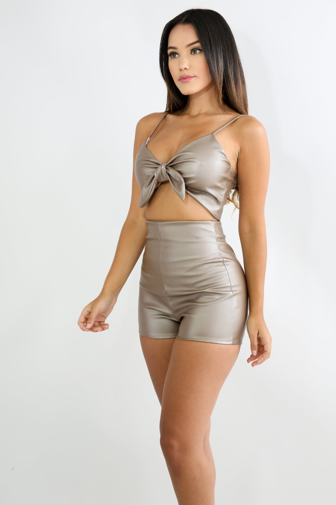 Bow Leatherette Short Set