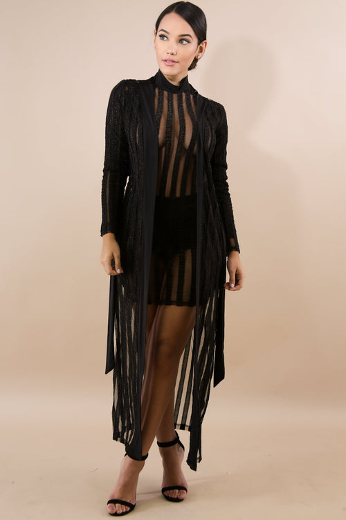 Stripped Sheer Sparkle Robe