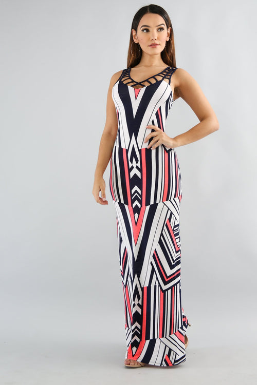 Chevron Net Summer Dress