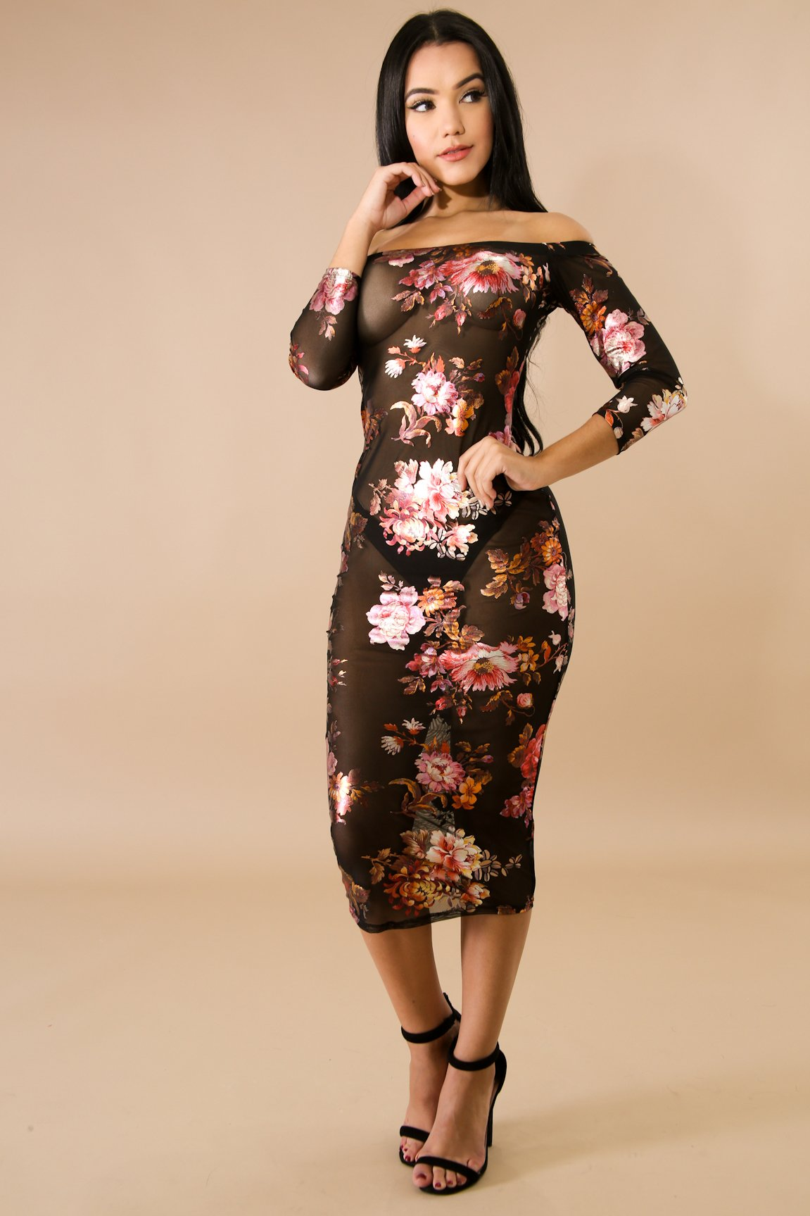 Sheer Floral Foil Midi Body-Con Dress