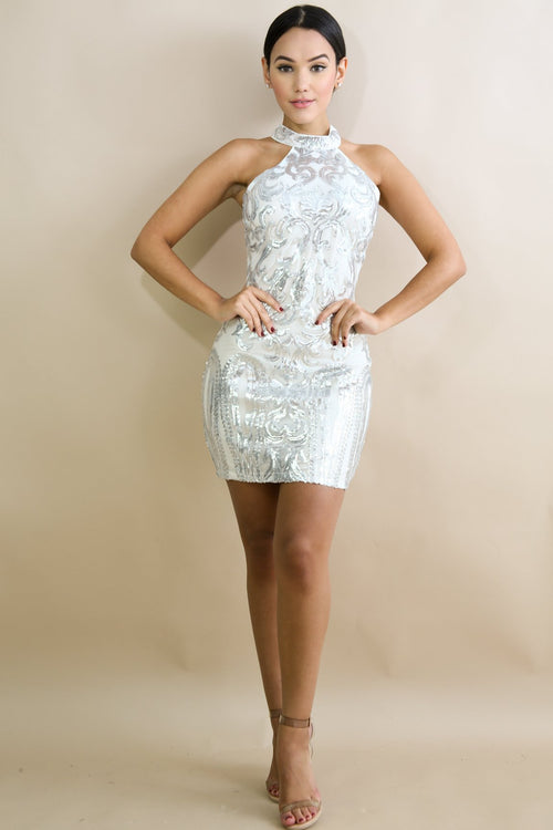 Mock Neck Sequin Body-Con Dress