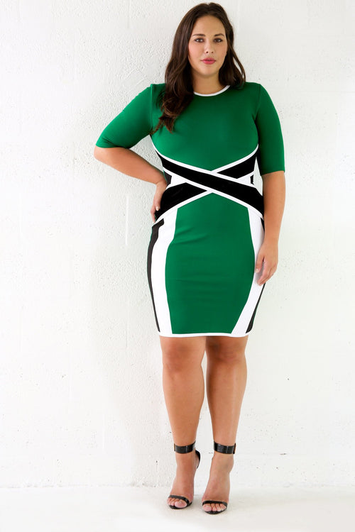Mesh Waist Bodycon Dress