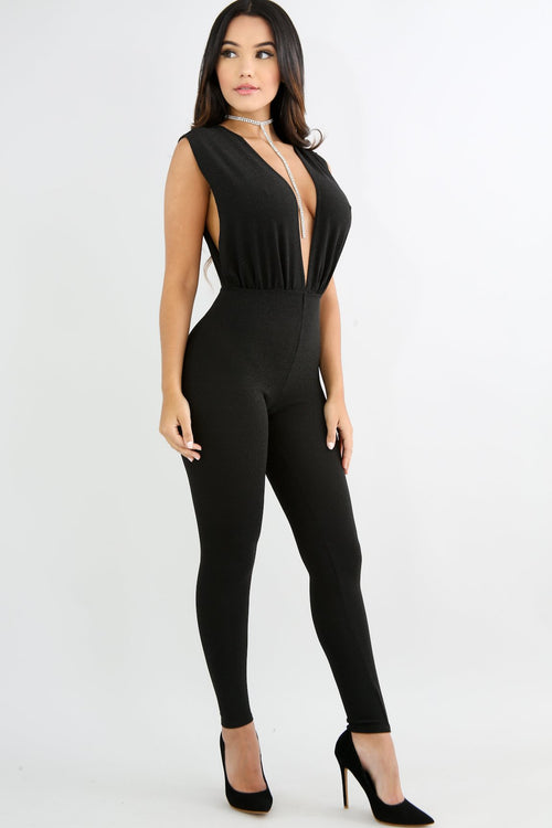 Plunging Sparkle Jumpsuit
