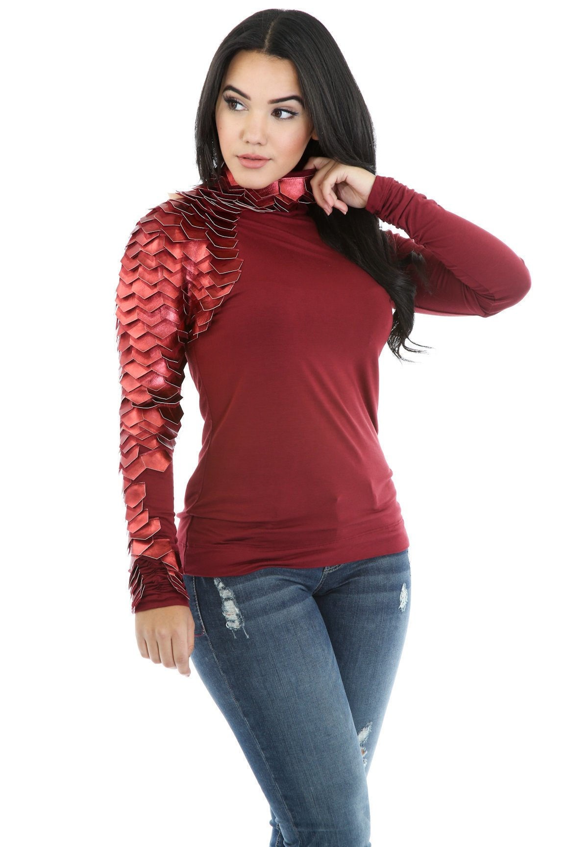 Right Knight Leatherette Long Sleeve Stretch Turtleneck Top