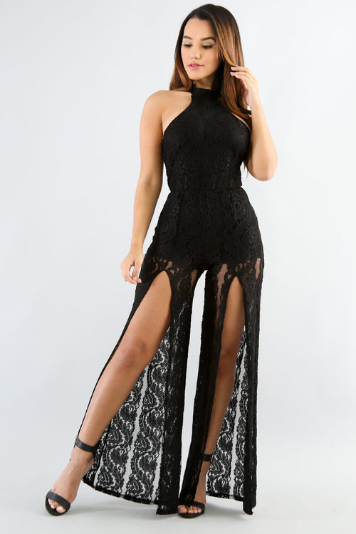 Open Flare Leg Lace Jumpsuit