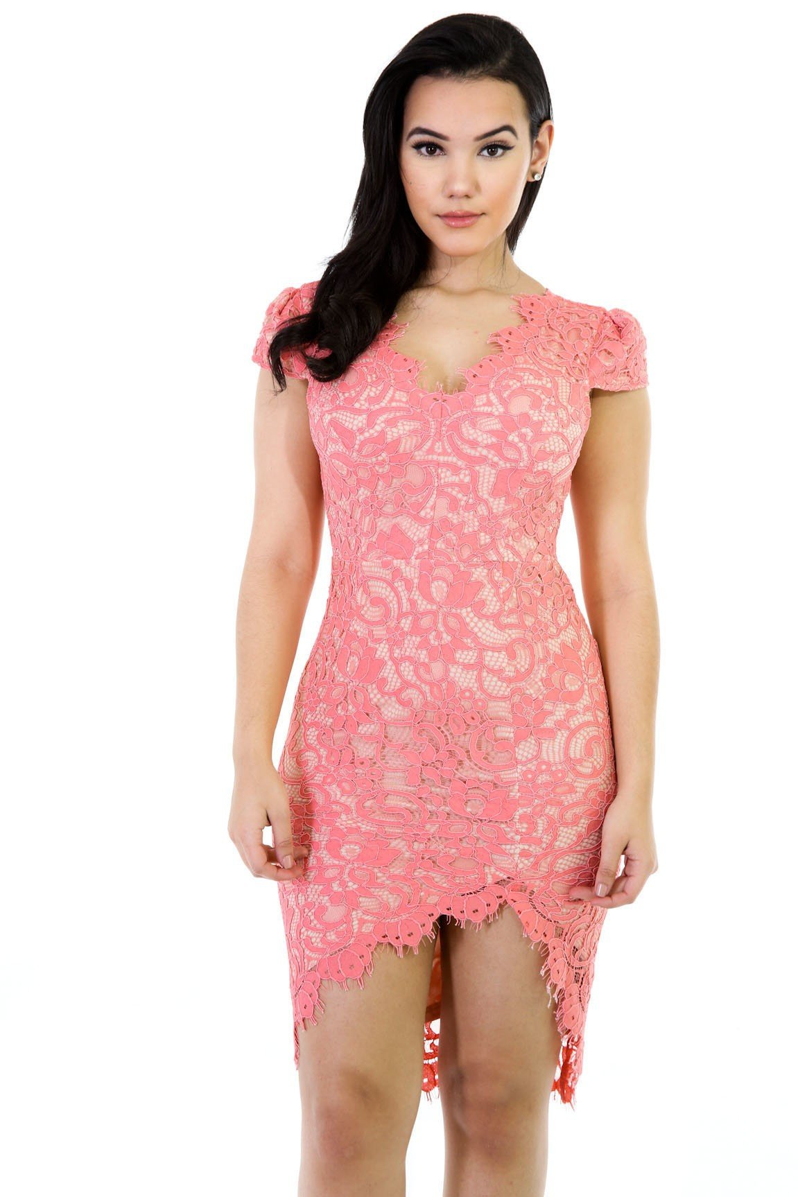 Low-High Floral Lace Dress