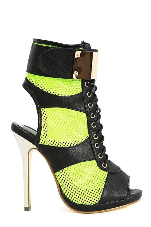 Summer-Stunner Neon Lime Lace Up Fastener Mesh Heels