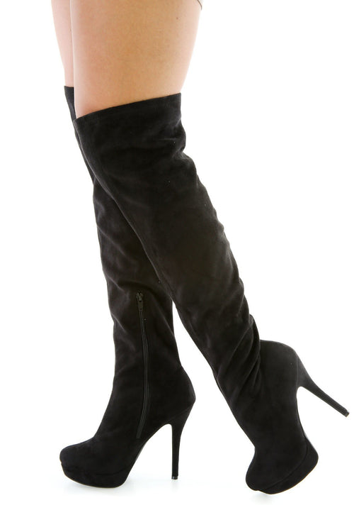 Vampy Faux Suede Thigh High Boots