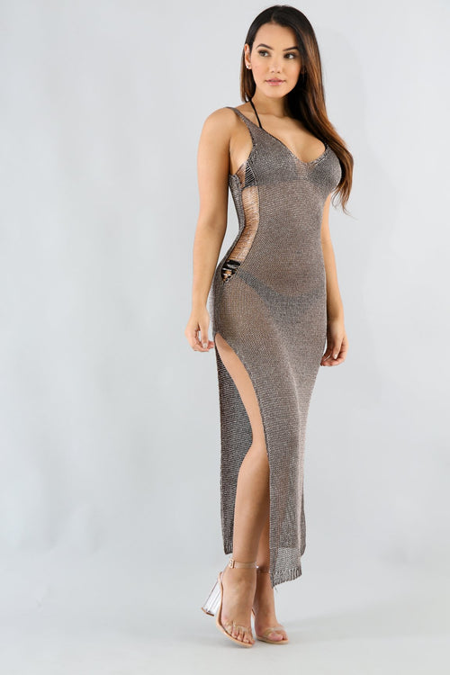 Sleeveless Metallic Dress