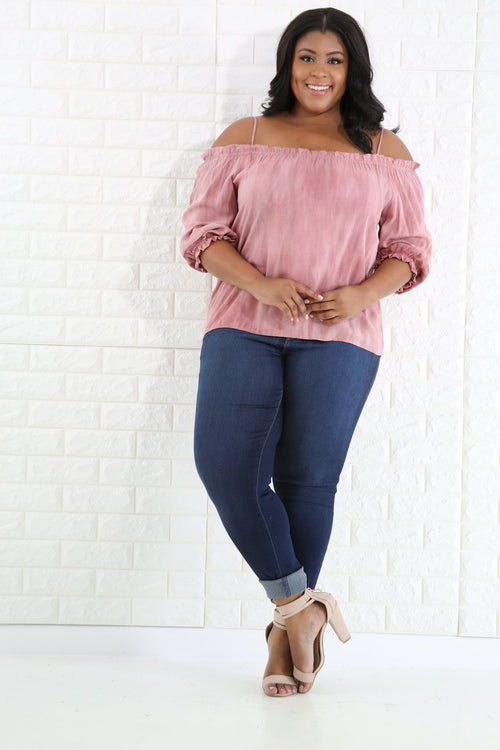 Off Shoulder Discolored Top