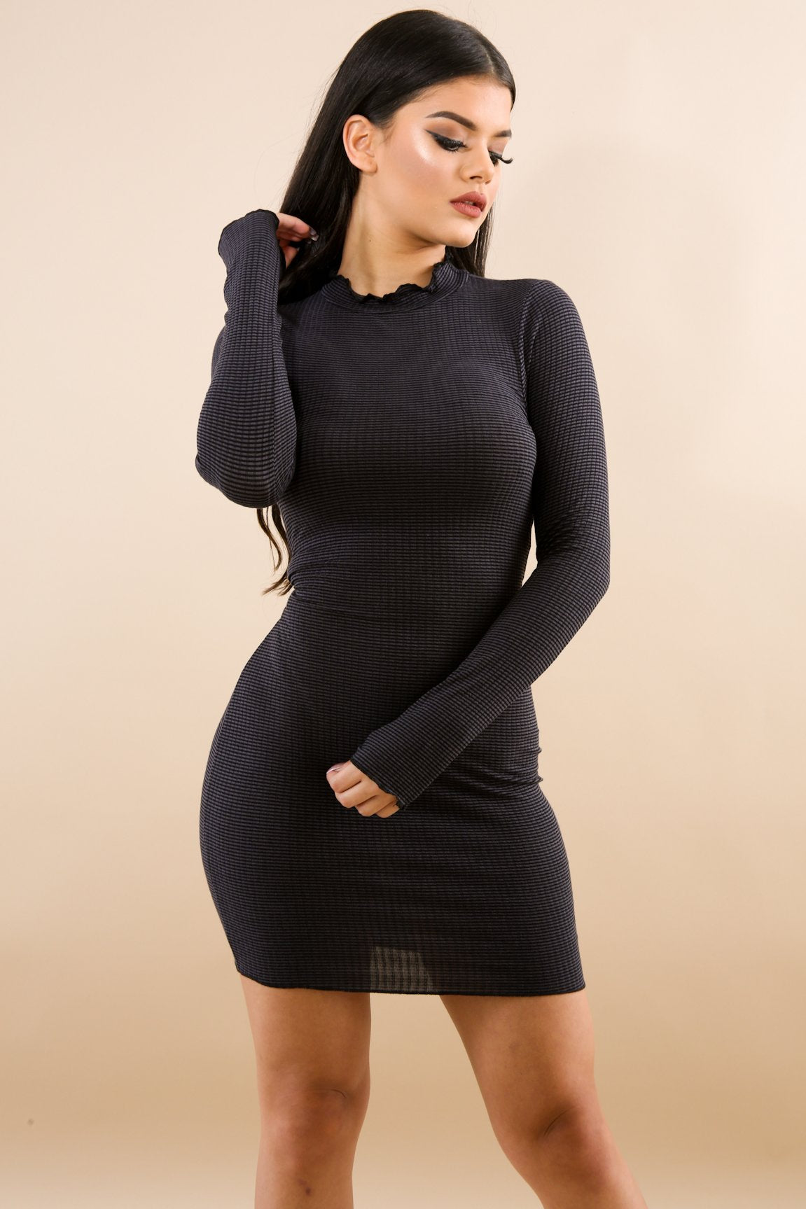 Mock Neck Rib Knit Body-Con Dress