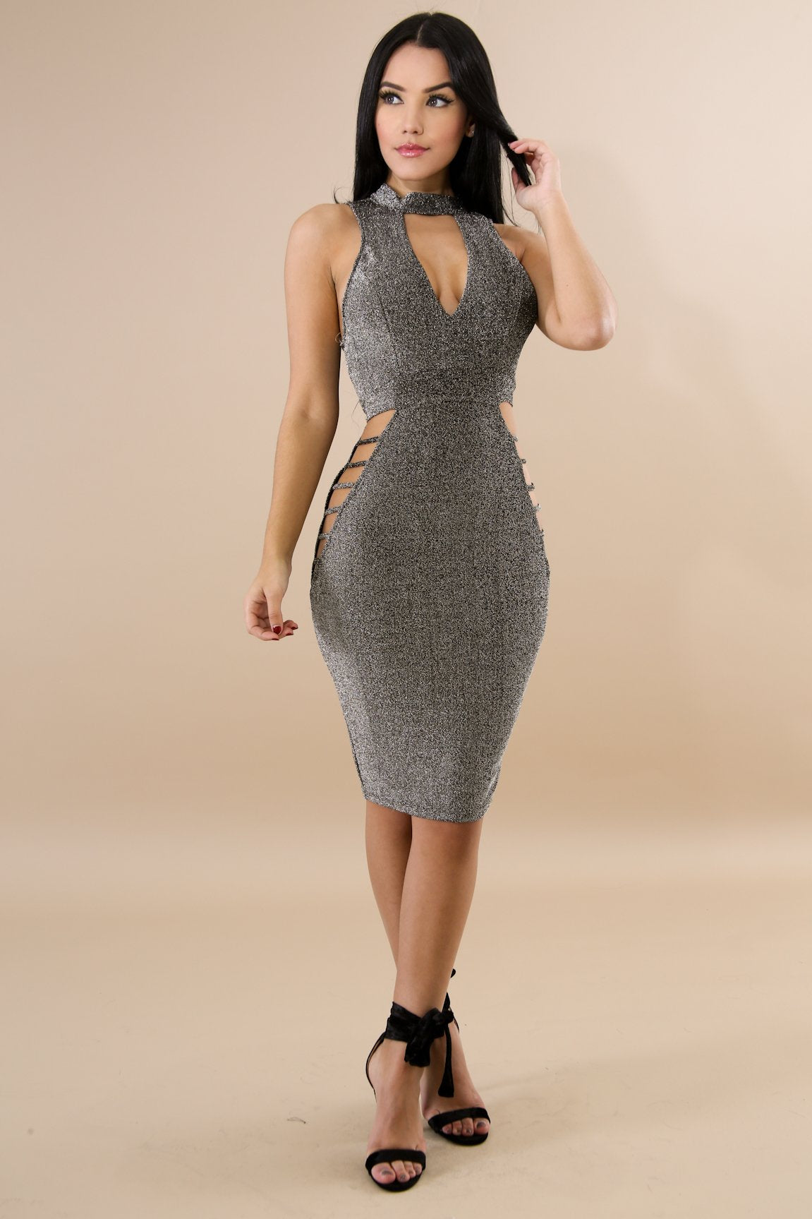 Shine Ladder Body-Con Dress