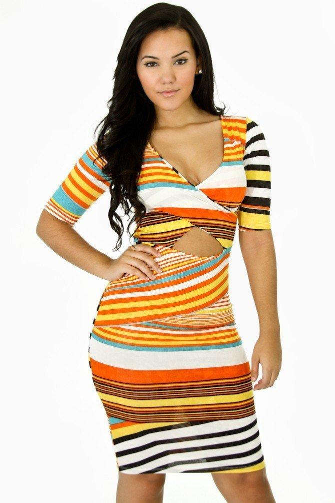 Multi Strips Bodycon Dress