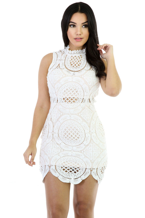 Sleeveless Artistic Crochet View Dress