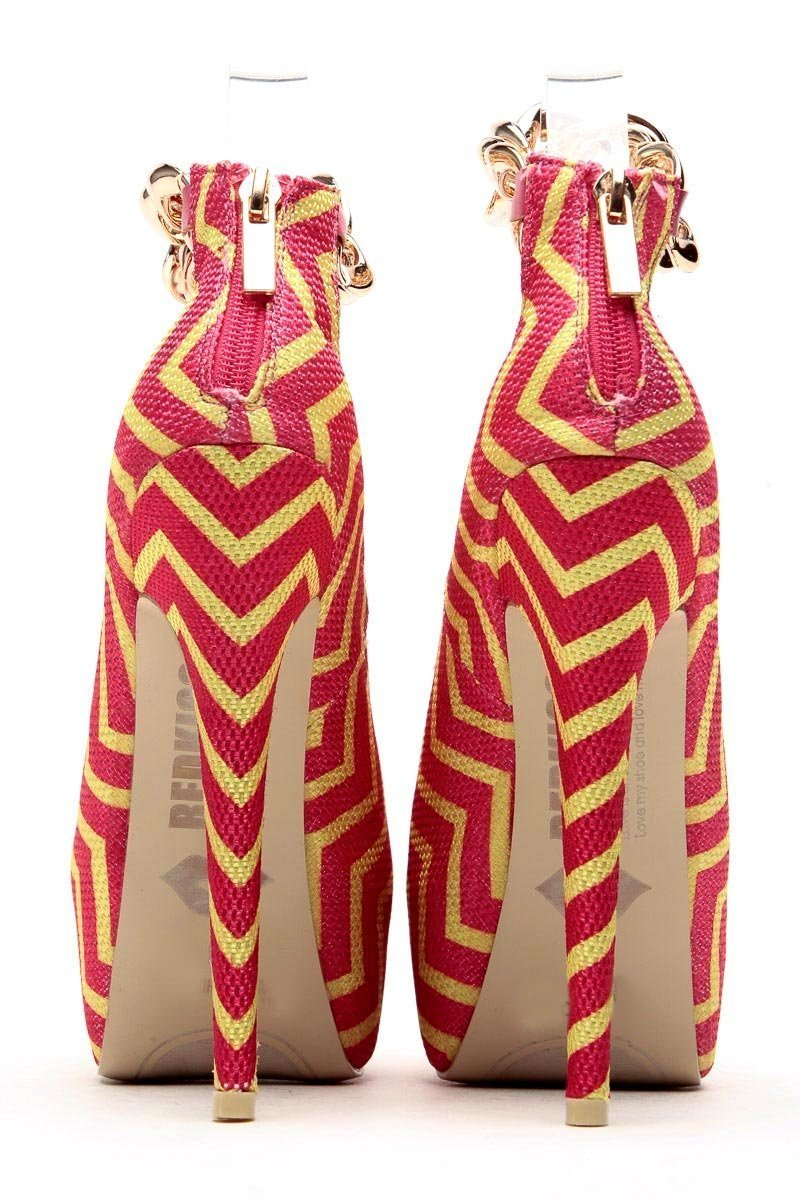 Pink Zip Zag Platform Pumps