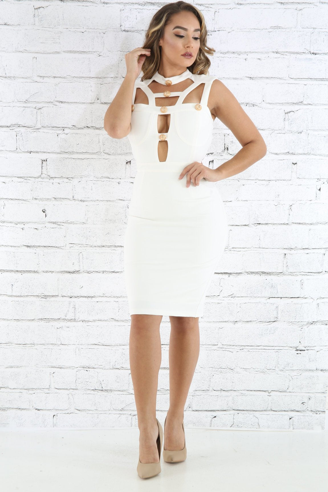 Caged Choker Bodycon Dress