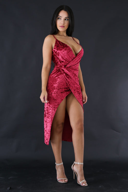 Crash Velvet Drape Dress