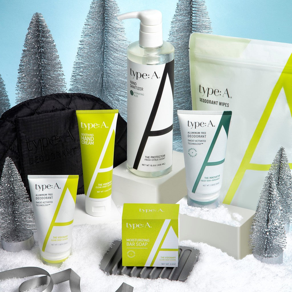 The best holiday gift clean beauty aluminum-free deodorant, deodorant wipes, hand sanitizer, hand cream, bar soap