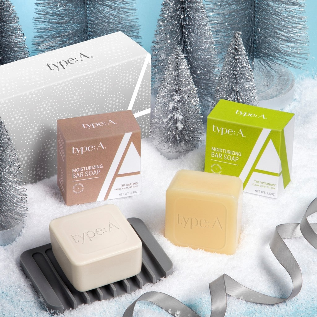 Moisturizing bar soap holiday gift set with soap dish