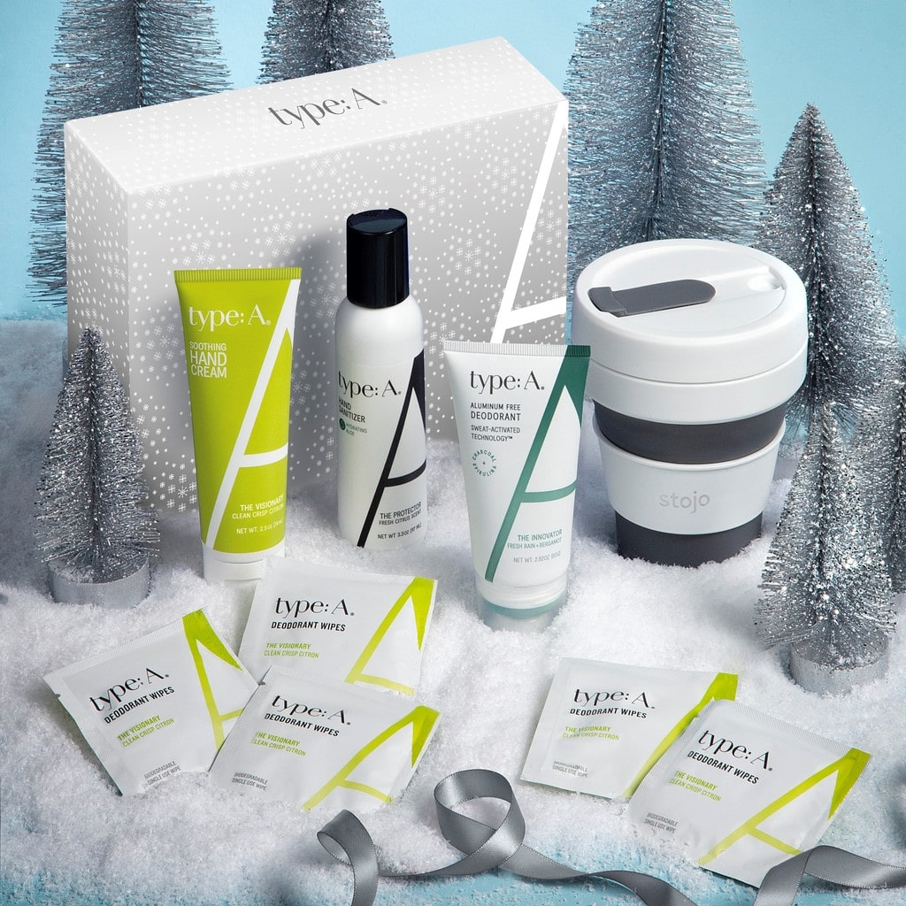 Holiday gift set aluminum free deodorant, hydrating hand sanitizer, deodorant wipes, moisturizing hand cream, reusable cup